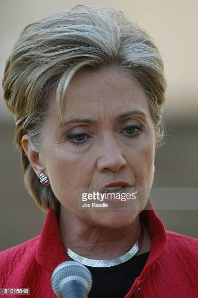 Democratic presidential hopeful US Senator Hillary Clinton speaks to the media after a campaign event at Shepherd University McMurran Hall May 7 in...