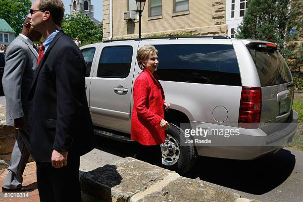 Democratic presidential hopeful US Senator Hillary Clinton walks to her vehicle after a campaign event at Shepherd University McMurran Hall May 7 in...