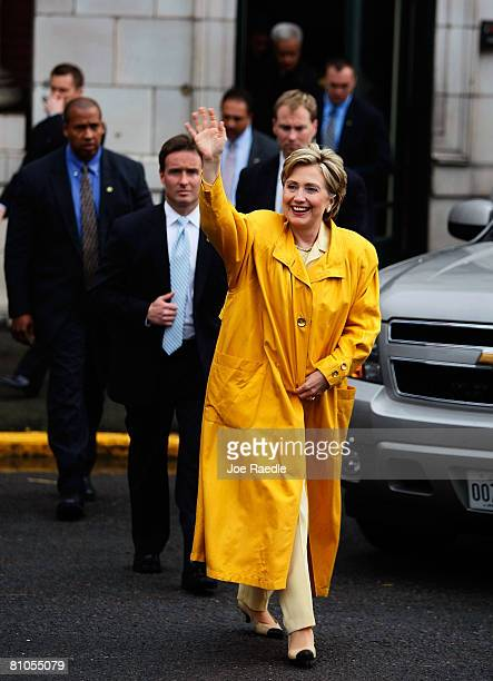 Democratic presidential hopeful US Senator Hillary Clinton waves to supporters during a campaign event held at the BO Railroad Heritage Museum May 11...