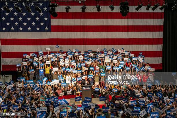 TOPSHOT Democratic presidential hopeful Vermont Senator Bernie Sanders addresses a rally at The Saint Paul River Centre on March 2 2020 in Saint Paul...