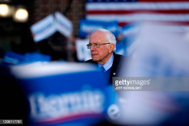 Democratic presidential hopeful Vermont Senator Bernie Sanders address supporters during a campaign rally in the Diag at the University Michigan in...
