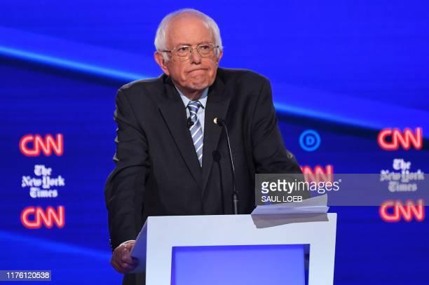 Democratic presidential hopeful Vermont Senator Bernie Sanders looks on during the fourth Democratic primary debate of the 2020 presidential campaign...