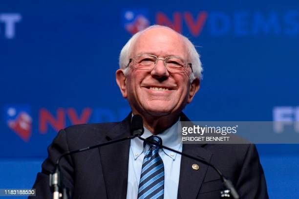 "Democratic presidential hopeful Vermont Senator Bernie Sanders speaks on stage at ""First in the West"" event in Las Vegas, Nevada on November 17, 2019."