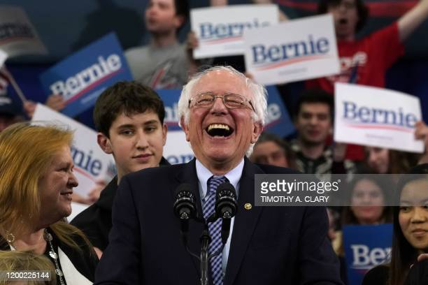 TOPSHOT Democratic presidential hopeful Vermont Senator Bernie Sanders speaks at a Primary Night event at the SNHU Field House in Manchester New...