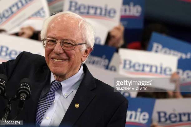 Democratic presidential hopeful Vermont Senator Bernie Sanders arrives to speak at a Primary Night event at the SNHU Field House in Manchester New...