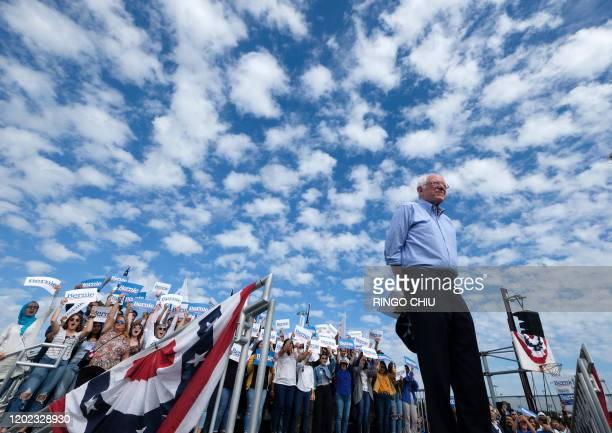 Democratic presidential hopeful Vermont Senator Bernie Sanders arrives to speak during a rally at Valley High School in Santa Ana California February...