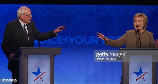 US Democratic presidential hopefuls Bernie Sanders and Hillary Clinton participate in the Democratic Presidential Debate hosted by ABC News at Saint...