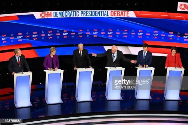 TOPSHOT Democratic presidential hopefuls billionairephilanthropist Tom Steyer Massachusetts Senator Elizabeth Warren Former Vice President Joe Biden...