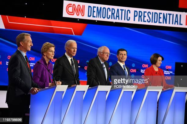 Democratic presidential hopefuls billionairephilanthropist Tom Steyer Massachusetts Senator Elizabeth Warren Former Vice President Joe Biden Vermont...