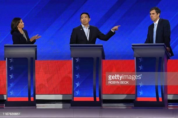 Democratic presidential hopefuls California Senator Kamala Harris , Tech entrepreneur Andrew Yang and Former Texas Representative Beto O'Rourke...