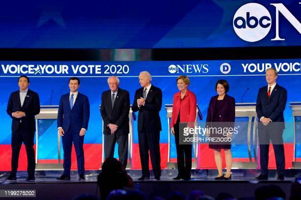 Democratic presidential hopefuls entrepreneur Andrew Yang former Mayor of South Bend Indiana Pete Buttigieg Vermont Senator Bernie Sanders former...