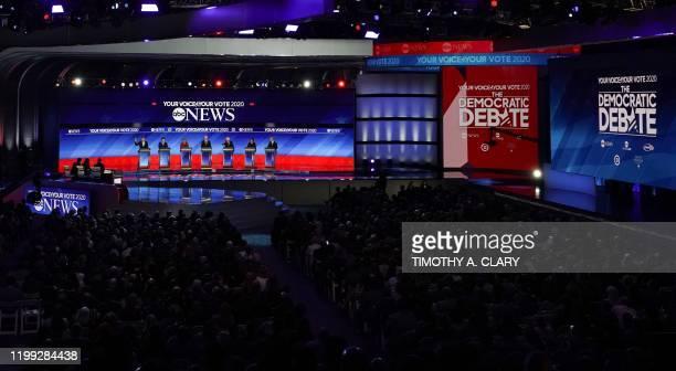 Democratic presidential hopefuls entrepreneur Andrew Yang former Mayor of South Bend Indiana Pete Buttigieg Massachusetts Senator Elizabeth Warren...