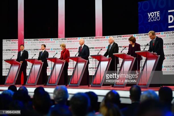 Democratic presidential hopefuls entrepreneur Andrew Yang Mayor of South Bend Indiana Pete Buttigieg Massachusetts Senator Elizabeth Warren former...