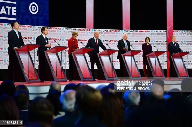 Democratic presidential hopefuls, entrepreneur Andrew Yang, Mayor of South Bend, Indiana Pete Buttigieg, Massachusetts Senator Elizabeth Warren,...