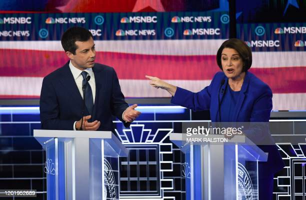 Democratic presidential hopefuls Former mayor of South Bend Indiana Pete Buttigieg and Indiana Senator Amy Klobuchar participate in the ninth...