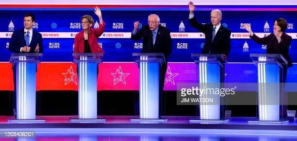 Democratic presidential hopefuls former Mayor of South Bend Indiana Pete Buttigieg Massachusetts Senator Elizabeth Warren Vermont Senator Bernie...