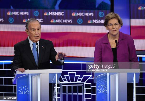 Democratic presidential hopefuls Former New York Mayor Mike Bloomberg and Massachusetts Senator Elizabeth Warren participate in the ninth Democratic...