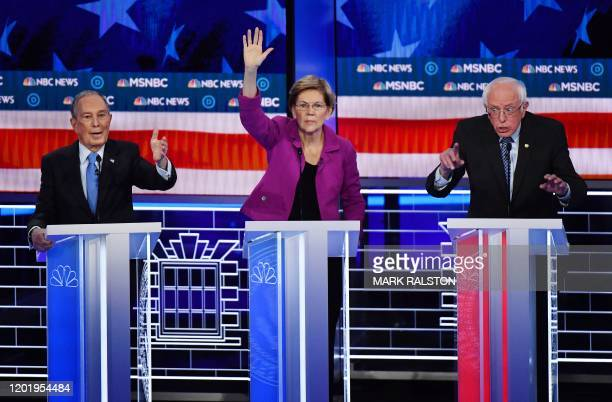 Democratic presidential hopefuls Former New York Mayor Mike Bloomberg Massachusetts Senator Elizabeth Warren and Vermont Senator Bernie Sanders...