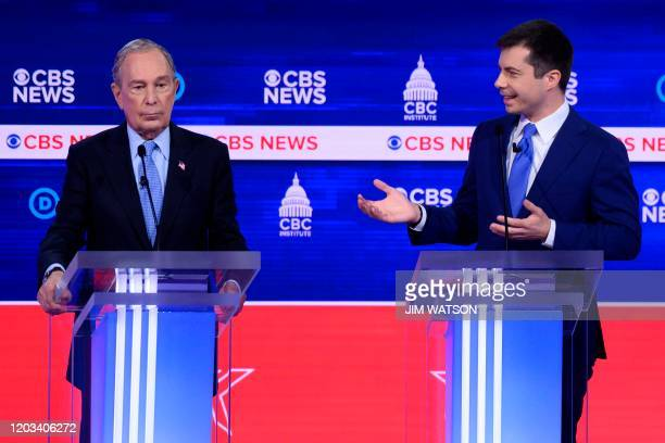 Democratic presidential hopefuls Former New York Mayor Mike Bloomberg and Former mayor of South Bend Indiana Pete Buttigieg participate in the tenth...