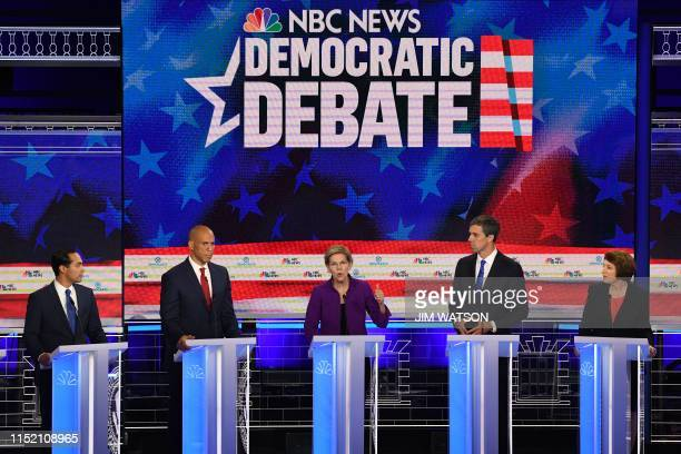 Democratic presidential hopefuls former US Secretary of Housing and Urban Development Julian Castro US Senator from New Jersey Cory Booker US Senator...