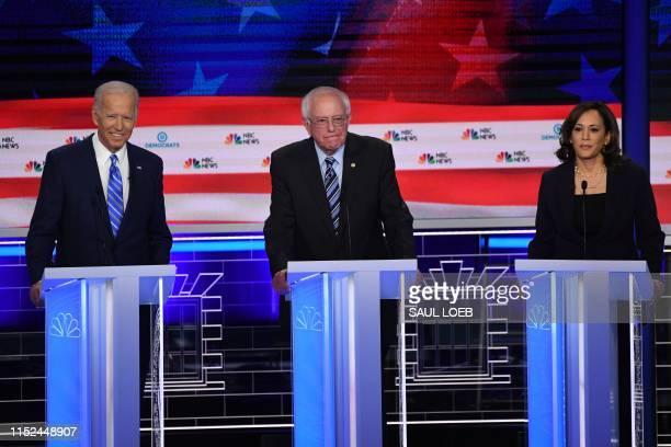 Democratic presidential hopefuls Former US Vice President Joseph R Biden Jr US Senator for Vermont Bernie Sanders and US Senator for California...