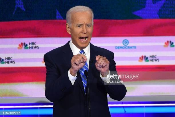 Democratic presidential hopefuls former US Vice President Joseph R Biden Jr speaks during the second Democratic primary debate of the 2020...