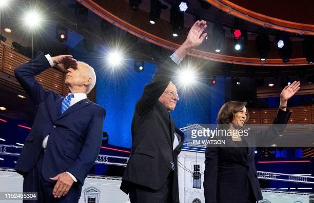 Democratic presidential hopefuls Former US Vice President Joseph R Biden US Senator for Vermont Bernie Sanders and US Senator for California Kamala...