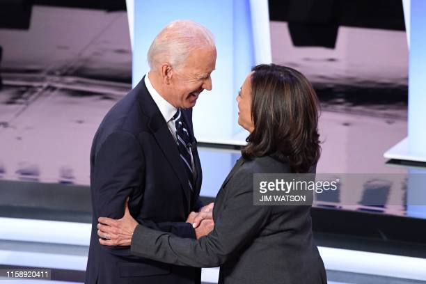 Democratic presidential hopefuls former Vice President Joe Biden and US Senator from California Kamala Harris greet each other ahead of the second...