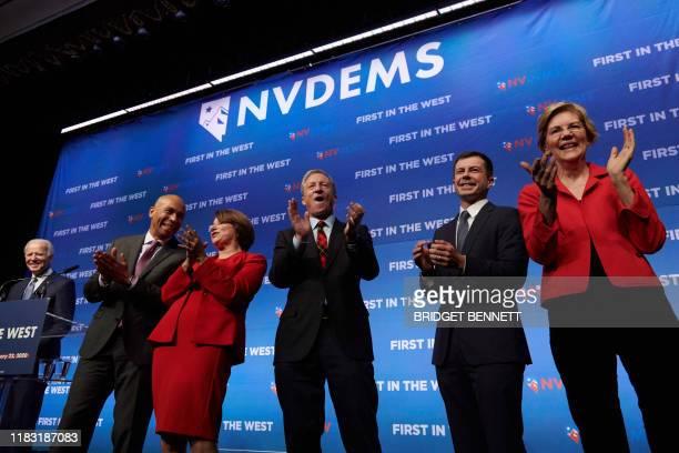 Democratic presidential hopefuls former Vice President Joe Biden New Jersey Senator Cory Booker Minnesota Senator Amy Klobuchar US philanthropist Tom...