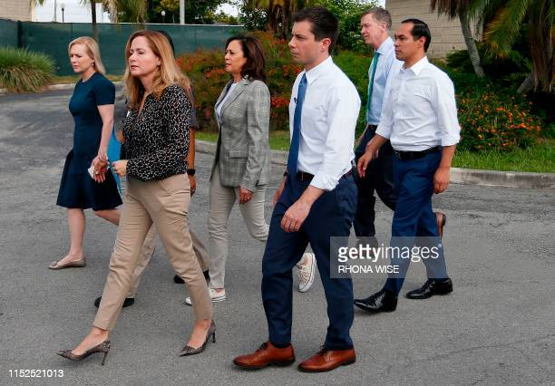 Democratic presidential hopefuls Kirsten Gillibrand Kamala Harris John Hickenlooper Julian Castro and Pete Buttigieg along with Florida Congresswoman...