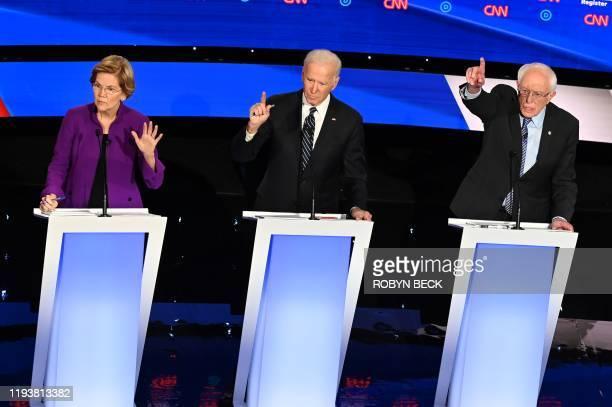Democratic presidential hopefuls Massachusetts Senator Elizabeth Warren , former Vice President Joe Biden and Vermont Senator Bernie Sanders...
