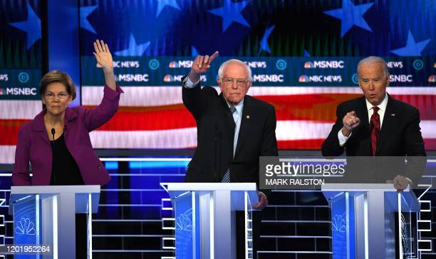 Democratic presidential hopefuls Massachusetts Senator Elizabeth Warren Vermont Senator Bernie Sanders and former Vice President Joe Biden...