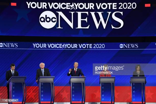 TOPSHOT Democratic presidential hopefuls Mayor of South Bend Indiana Pete Buttigieg Senator of Vermont Bernie Sanders Former Vice President Joe Biden...