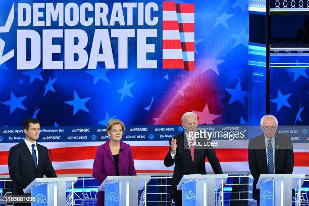 Democratic presidential hopefuls Mayor of South Bend Indiana Pete Buttigieg Massachusetts Senator Elizabeth Warren Former Vice President Joe Biden...