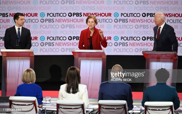 Democratic presidential hopefuls Mayor of South Bend Indiana Pete Buttigieg Massachusetts Senator Elizabeth Warren and former Vice President Joe...