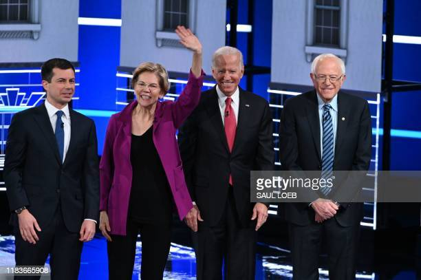 Democratic presidential hopefuls Mayor of South Bend Pete Buttigieg Massachusetts Senator Elizabeth Warren Former Vice President Joe Biden Vermont...