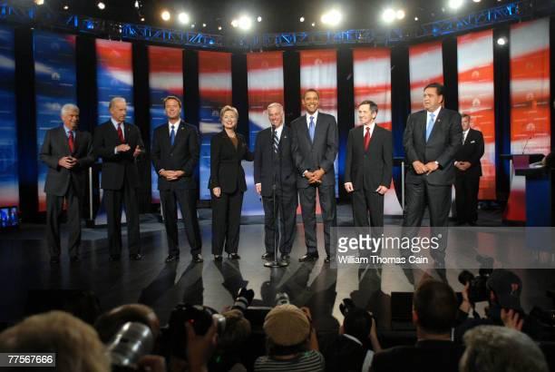 Democratic presidential hopefuls Sen Christopher Dodd Sen Joe Biden former US Senator John Edwards Sen Hillary Clinton Chairman of the Democratic...