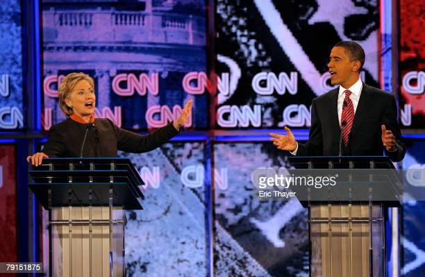 Democratic presidential hopefuls Sen Hillary Clinton and Sen Barack Obama engage in a heated debate at the Palace Theatre January 21 2008 in Myrtle...