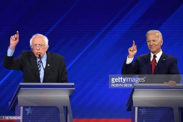 Democratic presidential hopefuls Senator of Vermont Bernie Sanders and Former Vice President Joe Biden participate during the third Democratic...