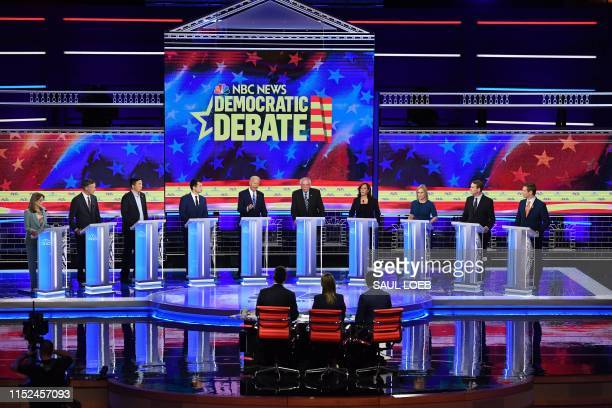 Democratic presidential hopefuls US author and writer Marianne Williamson, former Governor of Colorado John Hickenlooper, US attorney and...