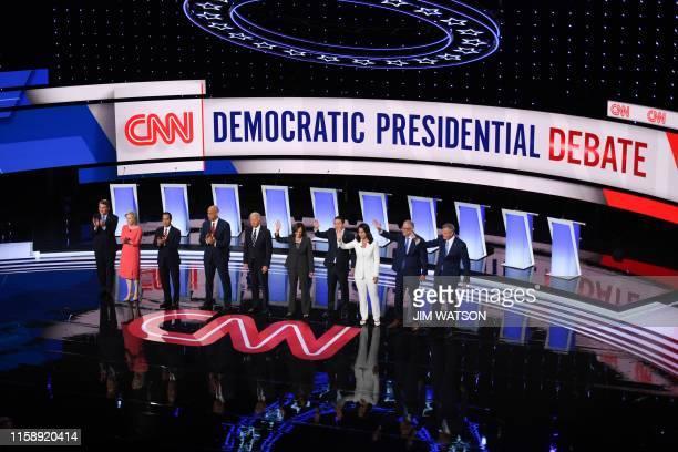 Democratic presidential hopefuls US Senator from Colorado Michael Bennet US Senator from New York Kirsten Gillibrand former US Secretary of Housing...