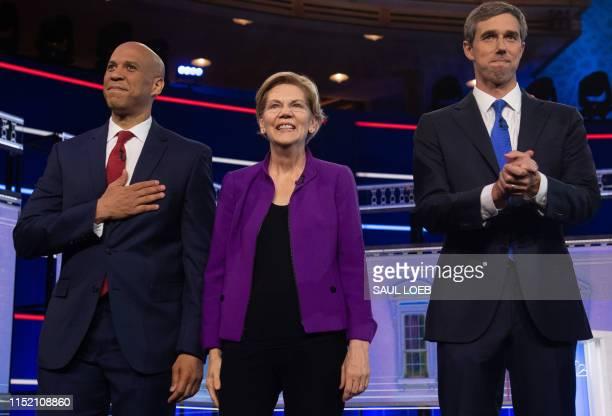 Democratic presidential hopefuls US Senator from New Jersey Cory Booker US Senator from Massachusetts Elizabeth Warren and former US Representative...