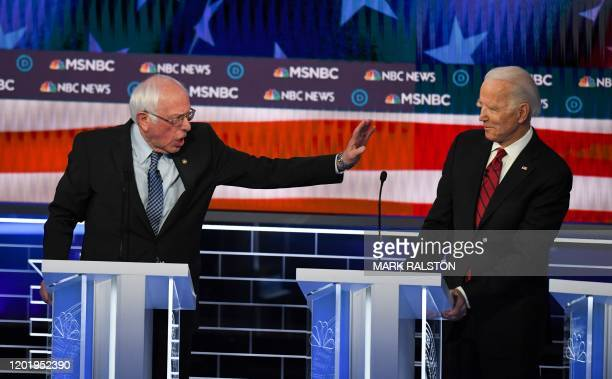 Democratic presidential hopefuls Vermont Senator Bernie Sanders and Former Vice President Joe Biden participate in the ninth Democratic primary...