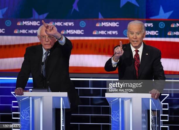 Democratic presidential hopefuls Vermont Senator Bernie Sanders and Former Vice President Joe Biden participate in the ninth Democratic primary...
