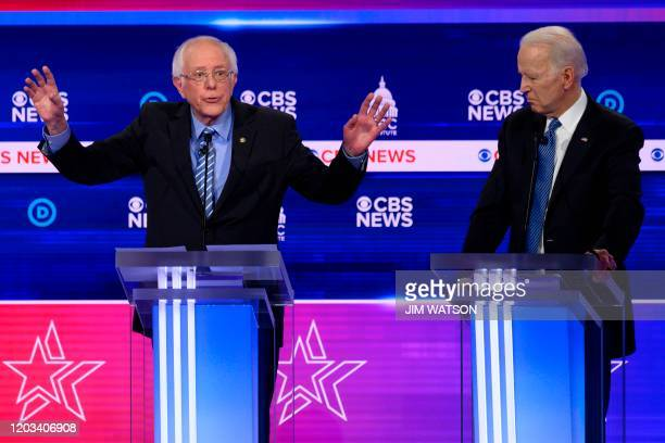Democratic presidential hopefuls Vermont Senator Bernie Sanders and Former Vice President Joe Biden participate in the tenth Democratic primary...