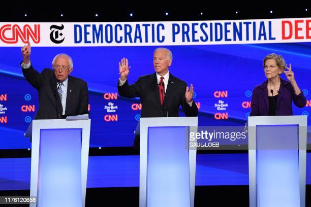 Democratic presidential hopefuls Vermont Senator Bernie Sanders Former Vice President Joe Biden and Massachusetts Senator Elizabeth Warren...