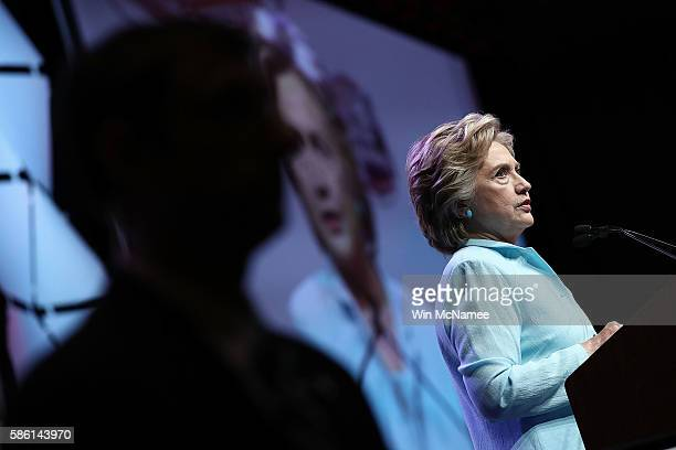 Democratic presidential nomiee Hillary Clinton addresses the National Association of Black Journalists and the National Association of Hispanic...