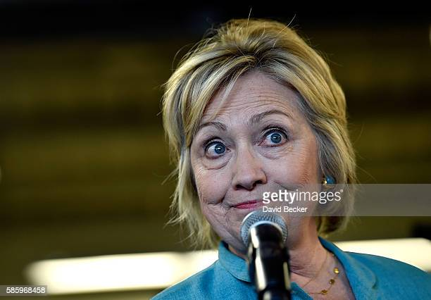 Democratic presidential nominee and former Secretary of State Hillary Clinton speaks after touring Mojave Electric Co on August 4 2016 in Las Vegas...