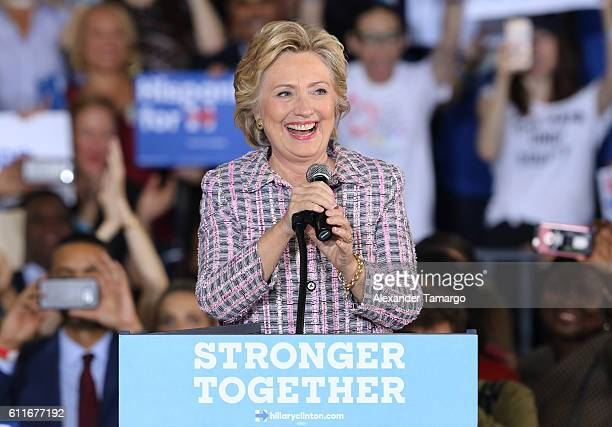 Democratic presidential nominee and former Secretary of State Hillary Clinton is seen during a campaign rally at Coral Springs Gymnasium on September...