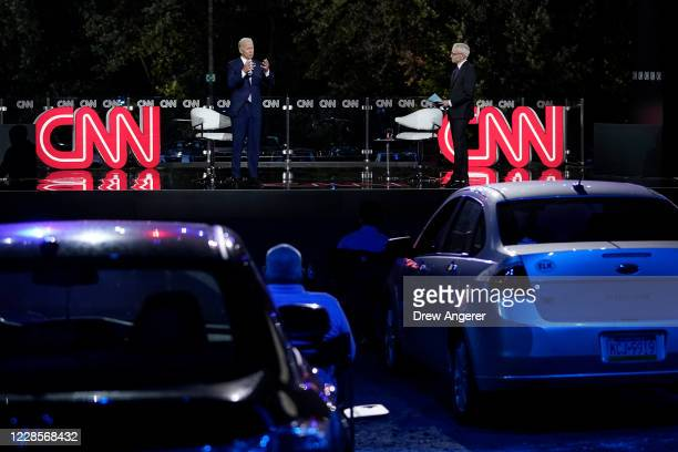 Democratic presidential nominee and former Vice President Joe Biden participates in a CNN town hall event on September 17, 2020 in Moosic,...